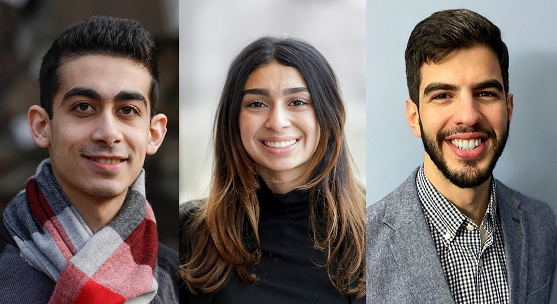 (Left to right): UIC student and Rhodes Scholar finalist Anis Barmada; UIC alumna and Rhodes Scholar finalist Zuka'a Joudeh; Sami Alahmadi, UIC alumnus and 2020 Rhodes Scholar representing the Saudi Arabia constituency.