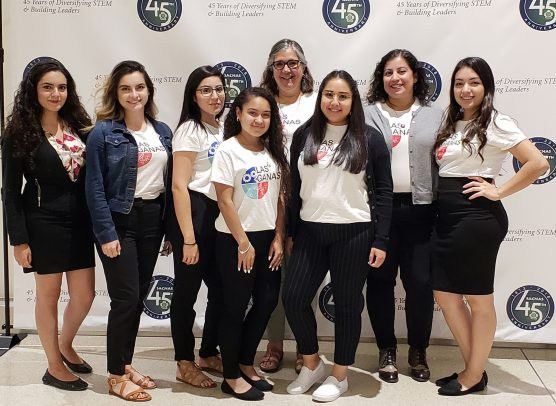 L@s GANAS presented at the 2018 Society for Advancement of Chicanos/Hispanics and Native Americans in Science Conference: (Left to Right) Ana Hernandez, Jocelyne Lemus, Leslie Zuniga, Arianna Perez-Ortiz, Axia Alfonso, Cynthia Martinez, Veronica Arreola and Kryztal Peña.